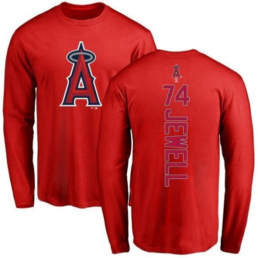 Jake Jewell Los Angeles Angels of Anaheim Men's Red Backer Long Sleeve T-Shirt -