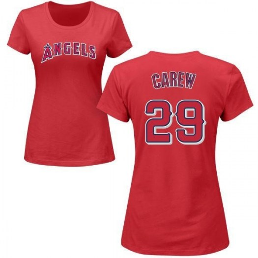 Rod Carew Los Angeles Angels of Anaheim Women's Red Roster Name & Number T-Shirt -
