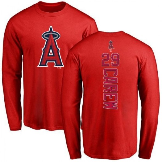 Rod Carew Los Angeles Angels of Anaheim Youth Red Backer Long Sleeve T-Shirt -